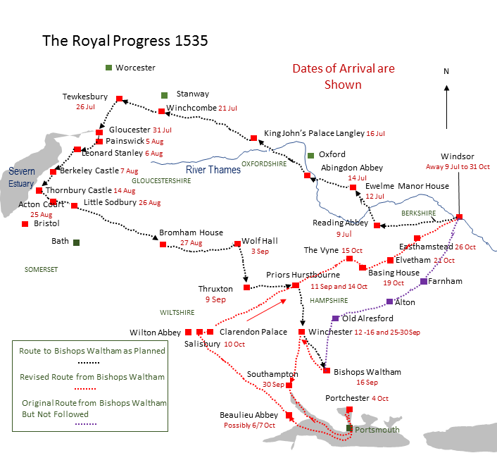 Picture Map of Royal Progress 1535